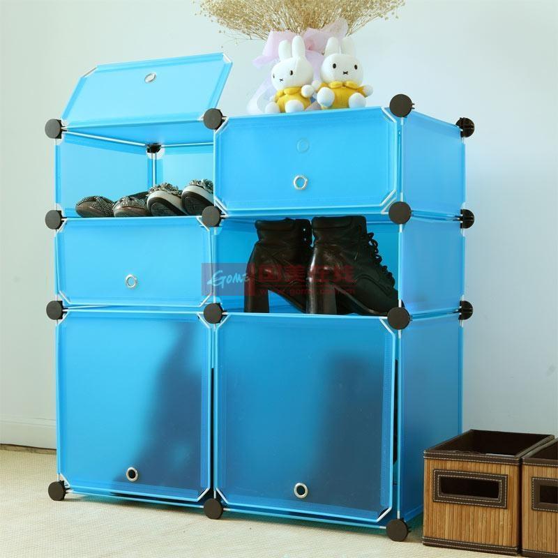 蔻丝 创意魔片六格简易衣柜 鞋柜 衣柜收纳架 免工具安装 梦之蓝