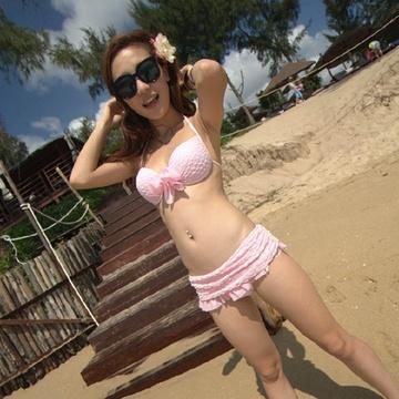 金宏/金宏女士分体裙式两件套性感比基尼泳衣 三色2821(粉红色M)