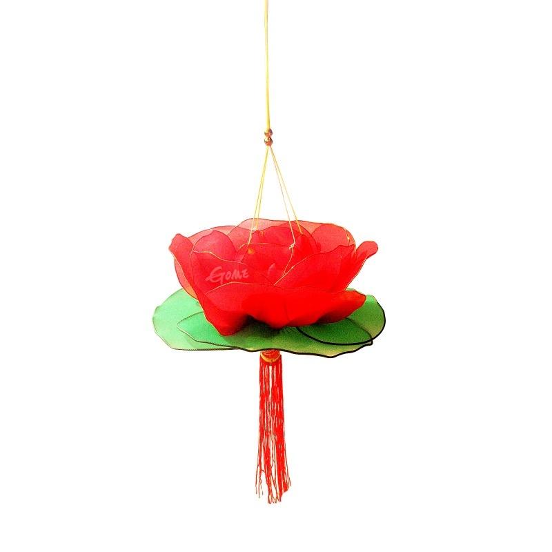 传统纯手工手提荷花灯 儿童丝网花灯笼玩具 大红/含电子蜡烛