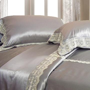 纯色真丝四件套素色欧式蕾丝边镶钻荷叶边床品包邮