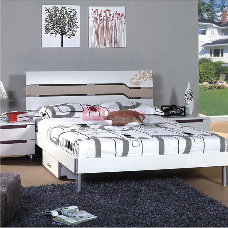 御品工匠 双人床 个性现代简约 板式床弯曲床头1.5/1.8米床 a1509(1.