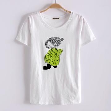 卷发女孩 可爱卡通印花图案短袖t恤【图片