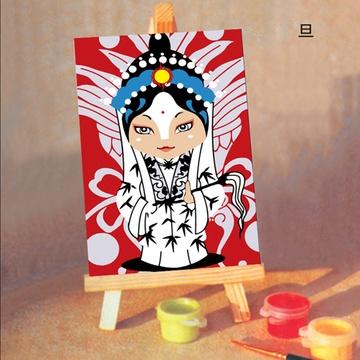 华庭丽娜手绘无框画 旦 卡通京剧人物迷你小油画 10x15cm儿童艺术启蒙