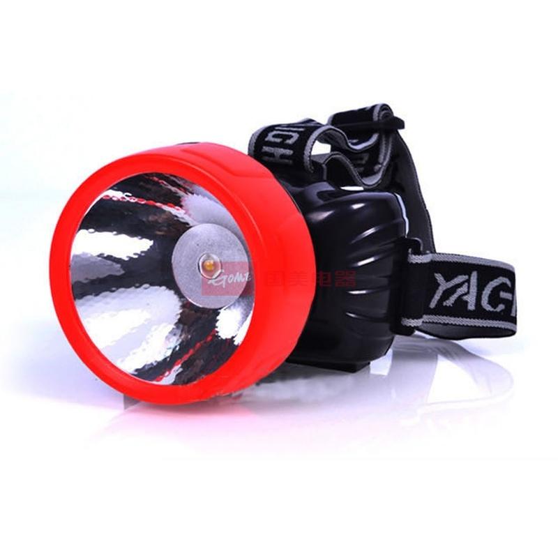 雅格1w大功率led充电式头灯矿灯 强弱可调钓鱼灯