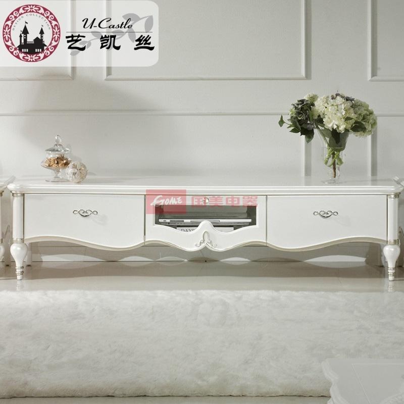 艺凯丝 欧式白色简约实木电视柜地柜 法式浪漫温馨客厅储物柜组合(1.