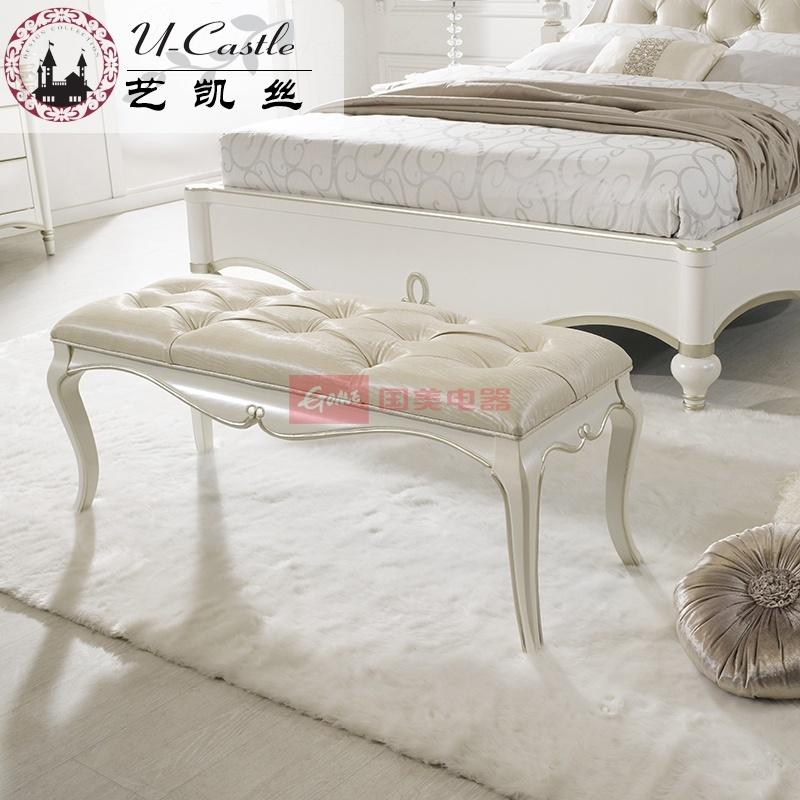 艺凯丝家具 欧式奢华床尾凳 纯实木卧室床边凳 换鞋凳子 法式温馨