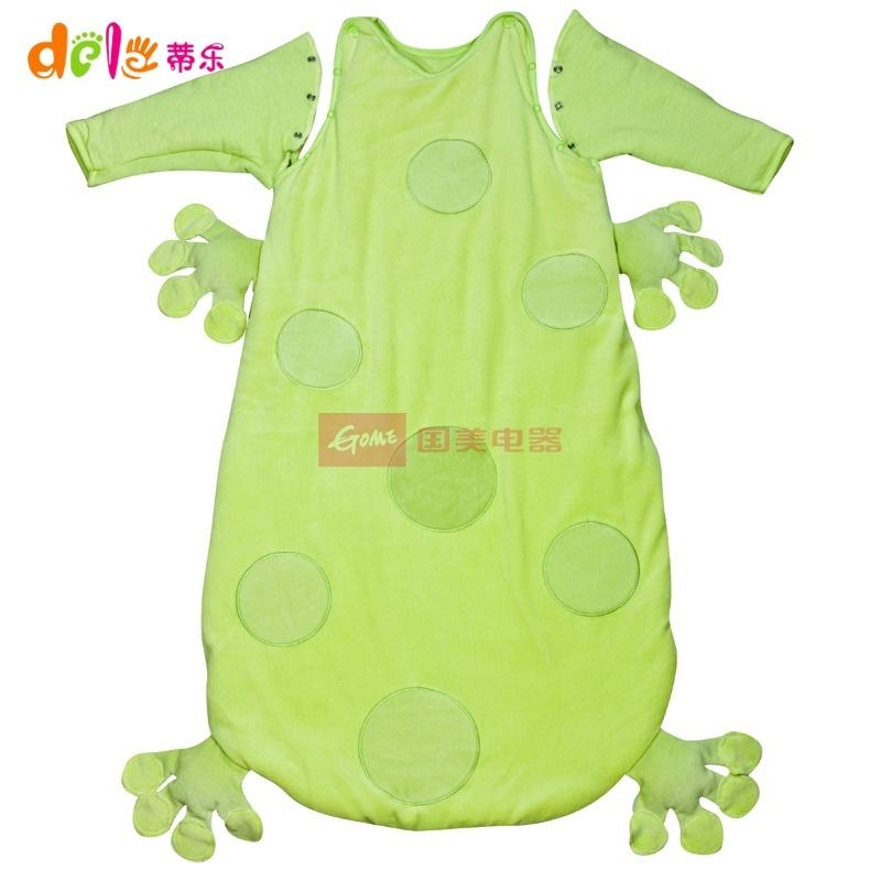 可爱新生儿童睡袋bb秋冬款幼儿宝宝睡袋小孩婴儿睡袋dl403(绿色带袖款