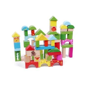 动物森林儿童积木玩具木制大块桶装积木木质