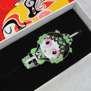 京剧脸谱人物书签创意实用中国风特色外事出国礼品金属(青衣书签盒装