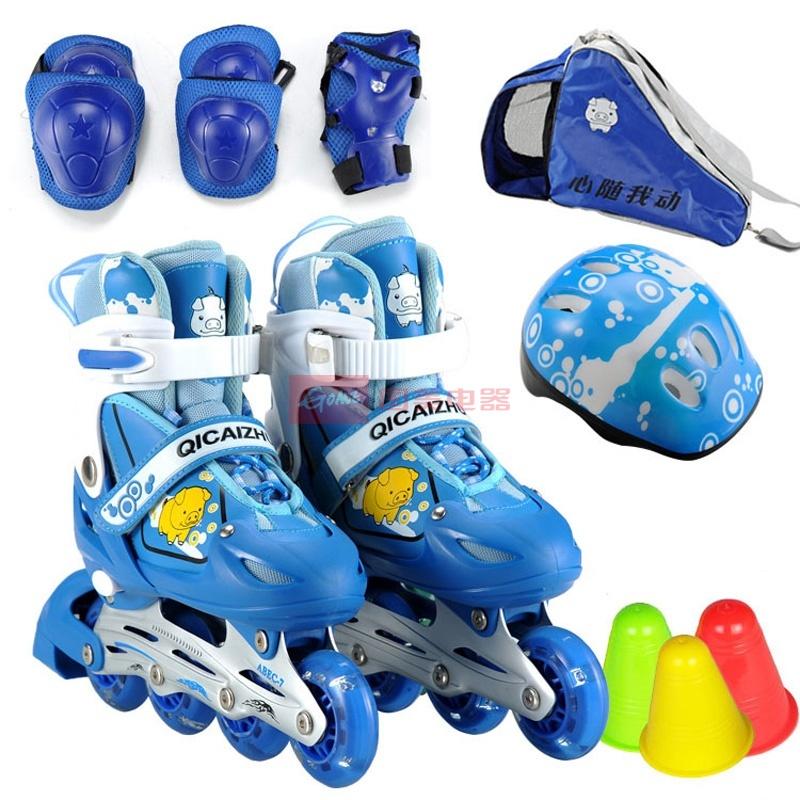 滑冰鞋旱冰鞋正品闪光溜冰鞋儿童套装可调 af01081(蓝色套装 s)
