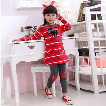 新款女童纯棉两件套 中大儿童条纹休闲套装长袖上衣长裤(红衣 灰裤