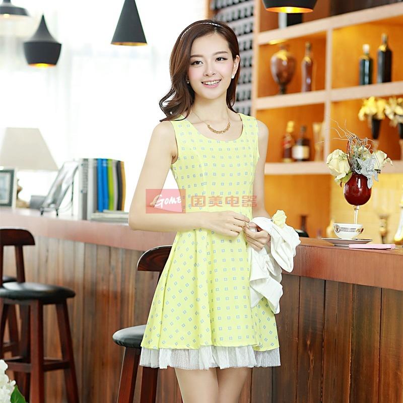 欣漾风尚 2014夏装新款韩版时尚可爱圆领碎花两件套连衣裙(配腰带)05