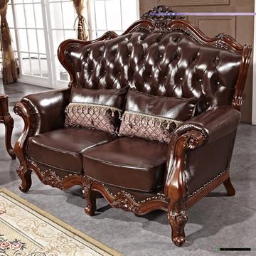 欧式别墅双面雕花木质美式沙发a