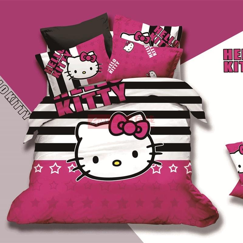 晶丽莱家纺 kt猫纯棉四件套 卡通全棉公主hello kitty 4件套 凯特猫