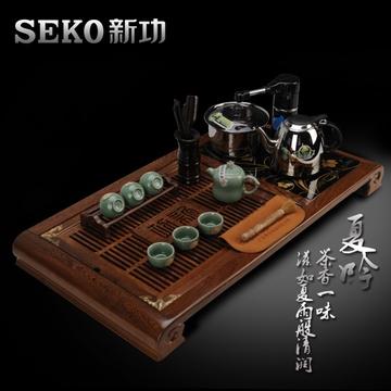 seko新功 f25 鸡翅木电热水壶组合茶盘 实木功夫茶盘抽水茶具套装