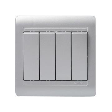 西蒙(simon) 开关86型电工 55系列四开单琴键控开关n51041b-57(亮银色