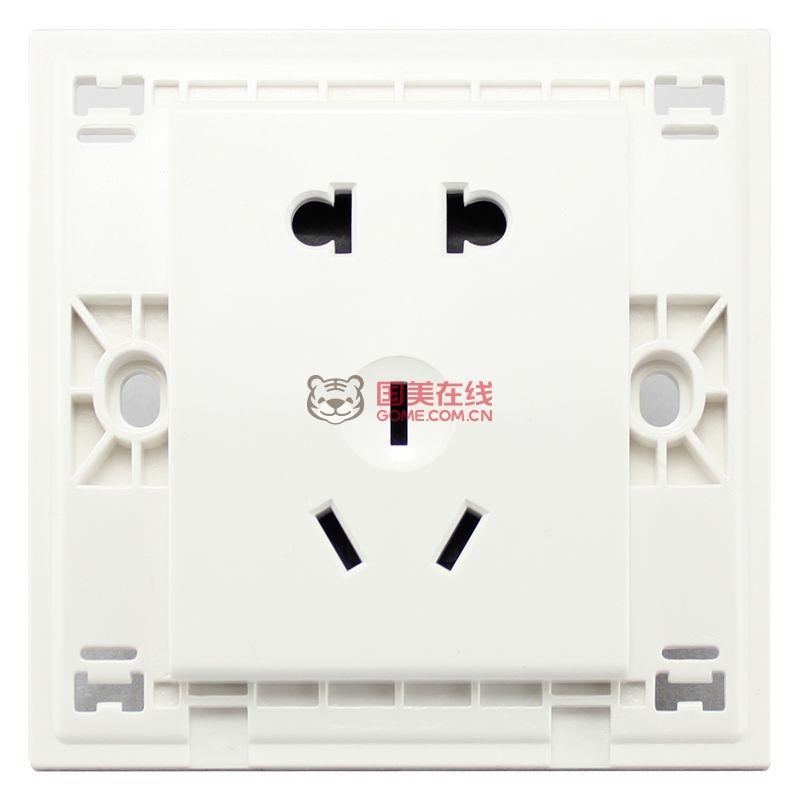 施耐德开关插座面板如意系列白色五孔电源插座86型10