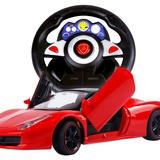 卡尔工程师 超大32cm可双开门方向盘充电版遥控车模 儿童遥控车玩具(红色)
