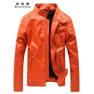 新款男装时尚大码外套韩版修身休闲纯色pu仿皮皮夹克男潮(橙色不加绒