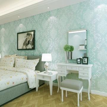 壁纸 卧室客厅电视背景墙满铺墙纸gmo-d(066蓝绿色)