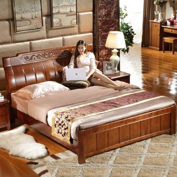实木床 中式雕花