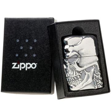 芝宝zippo打火机 银色侧向骷髅头骨
