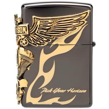 芝宝zippo打火机 哈雷复活黑冰金色火焰侧翅膀v发动机