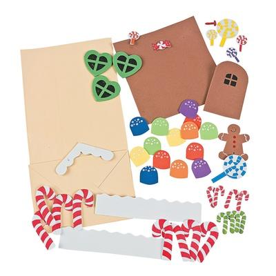 大贸商 diy手工制作 eva黏贴制作 圣诞姜饼人纸房子 12个 ef01136