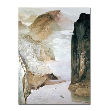 百雅轩艺术超微喷吴冠中《长江三峡(一)》风景油画装饰挂画礼品