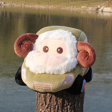 羊年吉祥物卡通小汽车公仔毛绒玩具小羊猴子小绵羊靠垫抱枕羊车抱枕