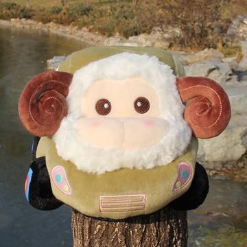 羊年吉祥物 卡通小汽车公仔 毛绒玩具 小羊猴子 小绵羊靠垫抱枕 羊车