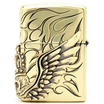 芝宝zippo打火机 金色中侧皇冠翅膀骷髅头 三面加工海盗之王