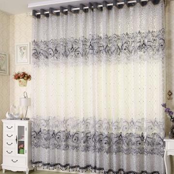 经典巴黎系列内帘外纱经典欧式风格客厅卧室烂花工艺窗帘窗纱(灰色 纱