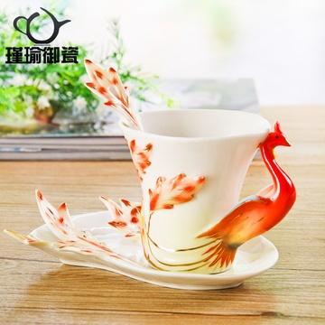 瑾瑜御瓷景德镇陶瓷杯子 个性创意孔雀杯 水杯咖啡杯牛奶杯珐琅杯(火