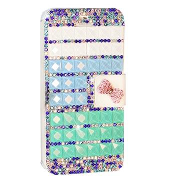 真皮世家 手工制作 彩色水钻前扣保护皮套支架手机壳