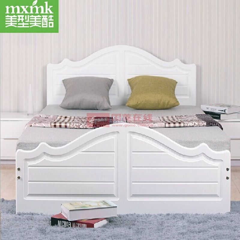 2白色实木床简约欧式田园儿童床储