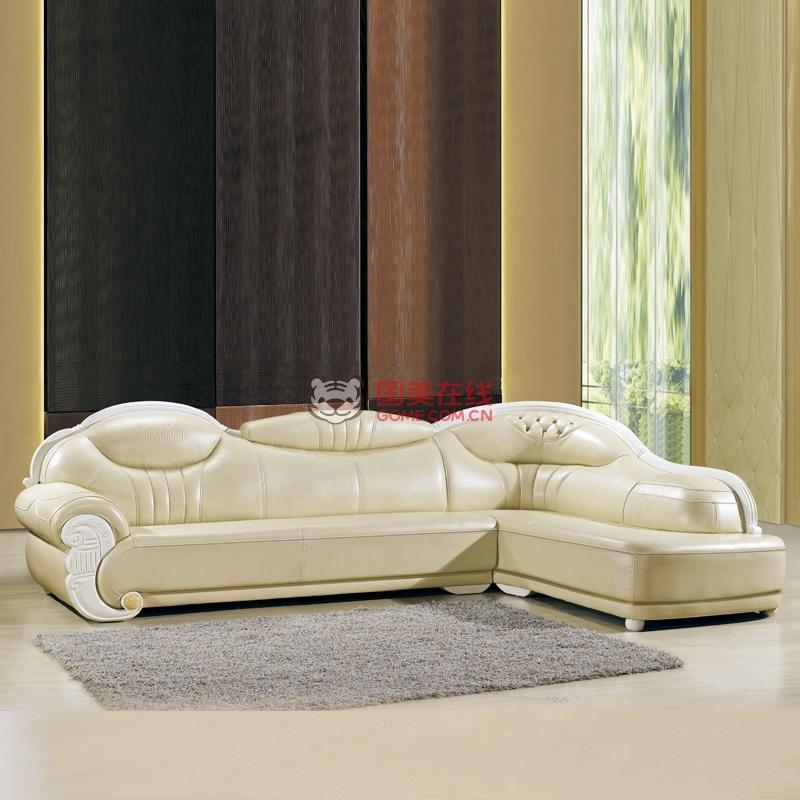 俏夫人欧式皮质沙发中厚皮转角组合皮艺沙发a62(米白色 3 左贵妃)