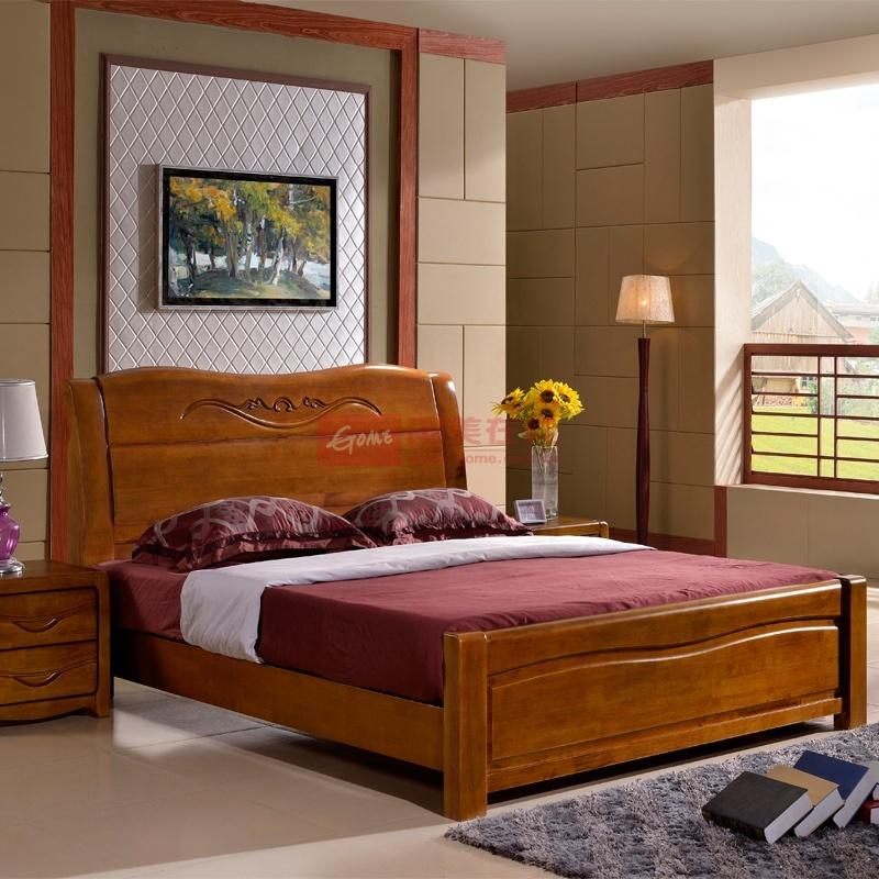 高档橡木简约现代中式床