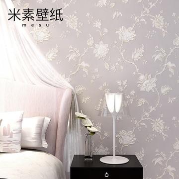 米素壁纸欧式墙纸 3d墙纸卧室客厅背景墙壁纸温馨墙纸素锦华彩(ms191