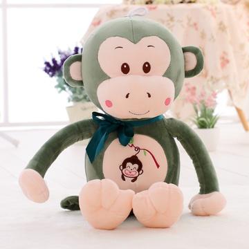 可爱嘻哈猴毛绒玩具猴子布娃娃玩偶公仔(绿色呆萌