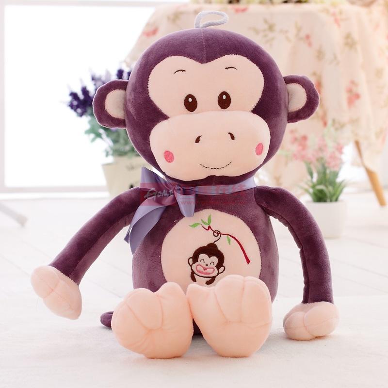 安吉宝贝可爱嘻哈猴毛绒玩具猴子布娃娃玩偶公仔(紫色