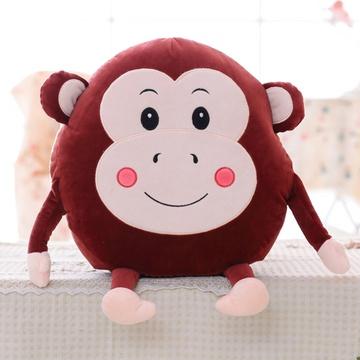 安吉宝贝可爱猴子玩具暖手捂抱枕(酒红色猴子暖手 40*