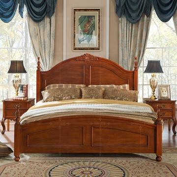 尚轩世家 实木床欧式家具卧室田园床美式大床复古1.5