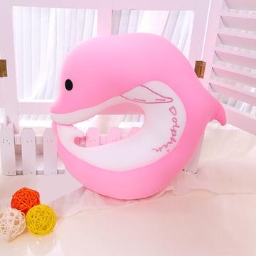 安吉宝贝可爱动物u枕靠垫(粉色海豚u枕 30*32cm)