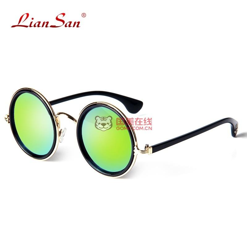 复古圆框防紫外线男女款太阳镜时尚造型遮阳墨镜2109(绿色炫光)