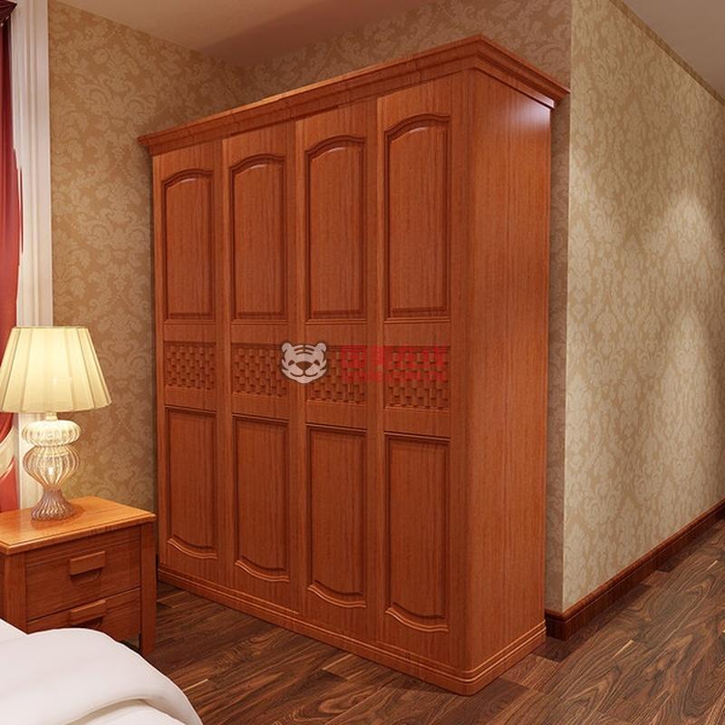 木帆家具 实木衣柜 四门 现代卧室家具 木质 储物衣橱