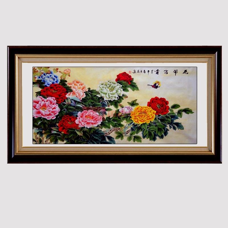花鸟国画牡丹画四尺横幅已装裱客厅办公室挂画