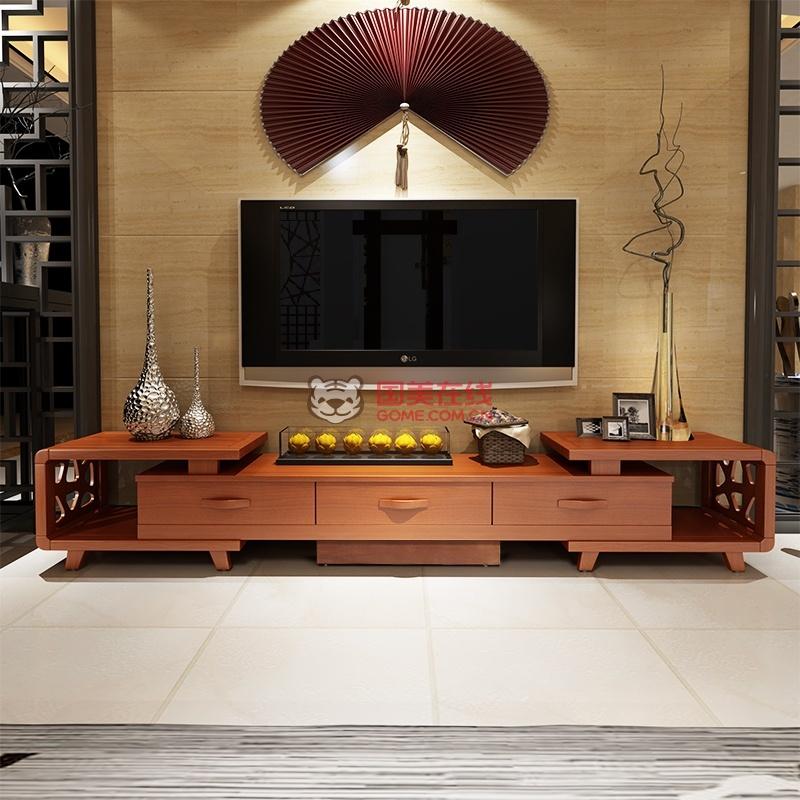 可伸缩现代中式实木电视柜-国美团购