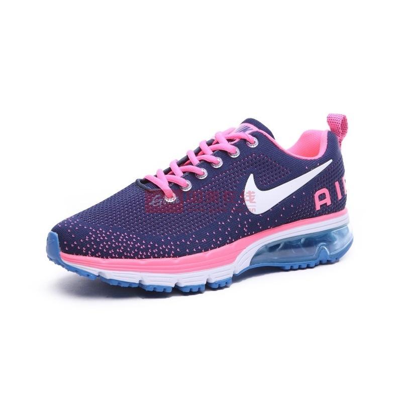 nike 耐克男女鞋 新款半掌气垫情侣运动跑步鞋558599-016(深蓝粉 37.