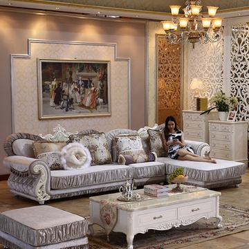 欧式布艺沙发 客厅小户型转角组合沙发